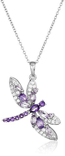 Rhodium Plated Sterling Silver Brazilian Amethyst African Amethyst and White Topaz Dragonfly Pendant Necklace 18 *** Check this awesome product by going to the link at the image.Note:It is affiliate link to Amazon.