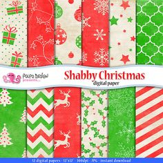 Shabby Christmas Digital Paper. Scrapbook vintage di PolpoDesign