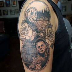 Did the first session on the Horror-themed Jason and Michael Myers Half-Sleeve for @wonpancho today at the shop.
