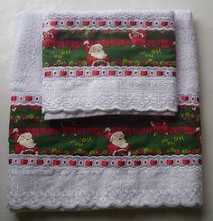 Cema Toalhas Decoradas Christmas Towels, Christmas Art, Christmas Stockings, Christmas Decorations, Christmas Sweaters, Decor Crafts, Easy Crafts, Diy And Crafts, Home Decor