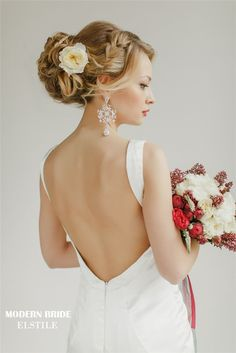 braided wedding updo hsirsyle for long hair with flowers