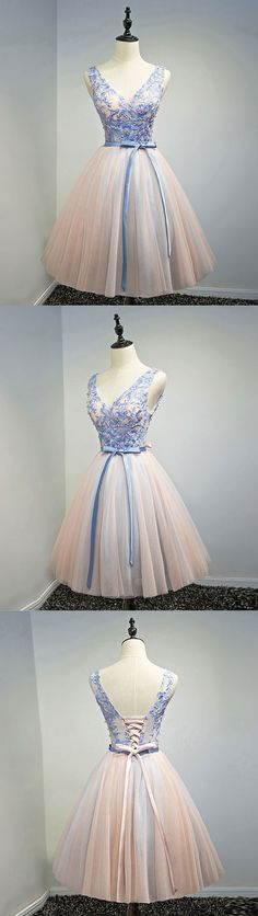 pink v neck tulle lace appplique short prom dress, homecoming dress