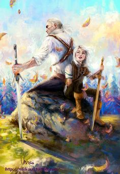 The Witcher Wild Hunt - Geralt & Ciri The Witcher Art, The Witcher Books, Witcher 3 Wild Hunt, Fantasy Kunst, Fantasy Art, Witcher Wallpaper, The Witcher Geralt, Yennefer Of Vengerberg, Video Game Art