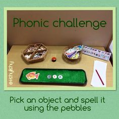 Pick an object and spell it with pebbles