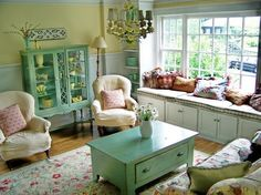 shabby chic living room--window seat in my living room! Cottage Style Living Room, Style Cottage, Chic Living Room, Living Room Colors, Living Room Designs, Living Room Furniture, Living Room Decor, Cozy Cottage, Cottage Design