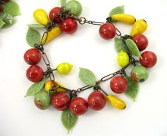 Art Deco Glass Fruit Leaf Charm Bracelet