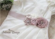 Sample Sale-Bridal Flower Sash- Vintage Inspired Floral Belt Sash, Ivory, Beige, Pink, Champain Wedding Sash, Wedding Sash Belt, Bridal Belt via Etsy