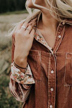Fall Velvet Button Up | ROOLEE