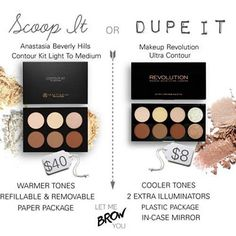 Battle of the contour palettes! @anastasiabeverlyhills Contour Kit or @makeuprevolution Ultra ContourPalette? You pick! #anastasiabeverlyhills #abh #makeuprevolution #contourkit #anastasiacontourkit #dupe #dupethat #contourpalette #letmebrowyou