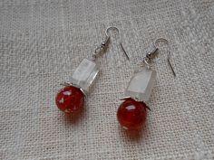 Crimson fire dragon vein agate earrings with quartz by KANDYLEES, $17.00