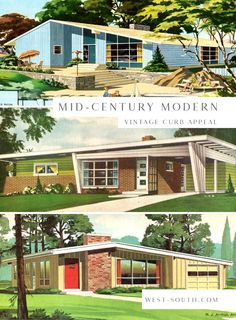 Mid-Century Modern Style Curb Appeal Ideas from West-South, Vintage Mid-Century Exterior Design Ideas Décoration Mid Century, Mid Century Ranch, Mid Century Decor, Mid Century House, Mid Century Modern Colors, Mid Century Modern Design, Mid Century Modern Home, Modern House Plans, Modern House Design