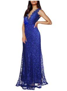 Solid Color V Neck Lace Maxi Dress