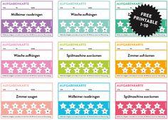 Motivierende Aufgabenkarten für Kinder als printable zum freien Download. So bleiben auch die kleinen motiviert und sehen Ihren Fortschritt.