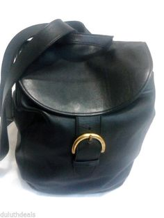 COACH Black Leather Backpack, Vintage Buckle Flap Handbag #4134, USA  .. $65 free shipping!