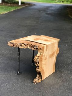SOLD-Live Edge Maple Waterfall End Table With Pipe Legs, Live Edge Waterfall Table, Burl Wood Table, Modern End Table, Side Table The table pictured has sold. There are 2 slabs from the same tree avai Live Edge Furniture, Log Furniture, Furniture Design, Western Furniture, Live Edge Wood, Live Edge Table, Live Edge Tisch, Modern End Tables, Into The Woods