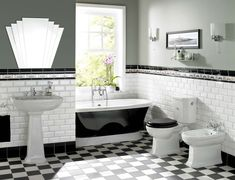 Sweet White Subway Wall Panel And Single Base Sink On Chess Floor Accent In Vintage Art Deco Bathroom Ideas