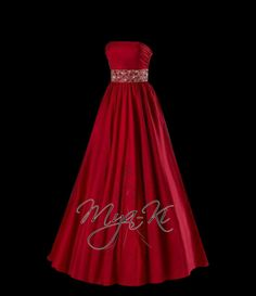 Strapless Red A-line floor length prom formal dress (MKP29) on Etsy, $250.00... LOVE