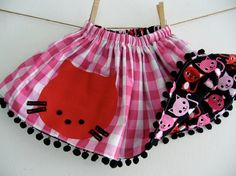 CHILDRENS REVERSIBLE SKIRT Red Kitty Cat Twirly by WhimsyRanch, $35.00