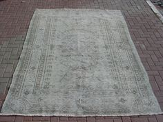 Turkish Grey over Dyed Carpet Rug Wool And Cotton