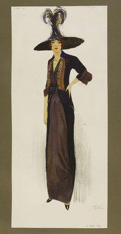 Donkerbruine jurk met daaroverheen een zwarte redingote ontworpen door Jeanne Paquin | Victoria and Albert Museum | 1912 Jeanne Paquin, 60 Fashion, Fashion Design, Wide Brimmed Hats, Victoria And Albert Museum, Day Dresses, Costumes, Model, Collection
