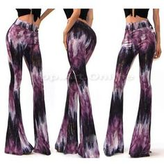 Women Cocktail Boho Pants Bell Bottom High Waist Stretch Slim Floral Print Flare
