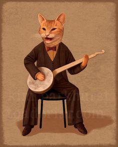 Banjo Kitty Musician  signed orange cat print by toadbriar on Etsy
