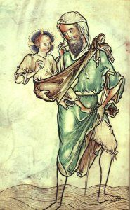 St. Christopher, Detail from Westminster Psalter, c. 1250