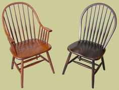 Shaker Windsor Chairs by Antique Tables Made Daily. Paint in acid yellow.