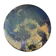 Small round canvas resin art with gold shimmer by CatB Round Canvas, Resin Art, Celestial, Gold, Yellow
