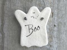 Ghost Salt Dough Ornament Halloween Party Favor Napkin Rings by cookiedoughcreations for $4.95