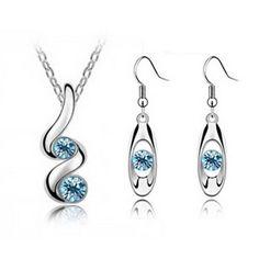 Swarovski Elements Twisted jewellery Set Turquoise Blue