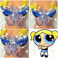 Bubbles Powerpuff Girls Rave Bra by TheLoveShackk on Etsy Carnival Festival, Rave Festival, Festival Costumes, Festival Outfits, Diy Halloween Costumes For Girls, Power Puff Girls Bubbles, Decorated Bras, Silicone Mermaid Tails, Rave Gear