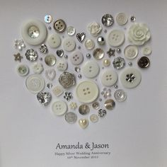Silver Anniversary Gift 25th Wedding by ButtonArtbySophie on Etsy
