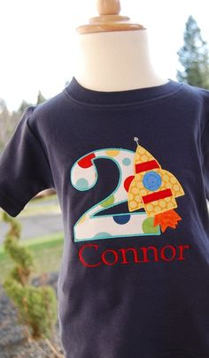 Personalized Birthday Boy Rocket TShirt Design by TwoKangaroos, $33.00