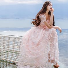 Sweet-Lolita-Mori-Girl-Fairy-Vintage-Woman-Embroidery-Pink-Lace-Dress-Princess