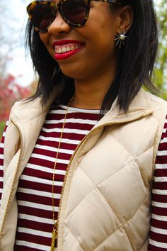 Style blogger shares a chic but easy take on fall weekend style for apple picking, festivals, and other fall activities with Jane Deals. // kendra scott statement earrings, nordstorm rack clearance finds, jcrew quilted puffer vest ideas, oversized tortoise sunglasses, blogger favorite outfit, colourpop london fog lipstick, affordable red lipstick, drugstore red lipstick, black blogger, diversity in blogging