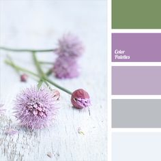 Gamma of delicate shades of violet is supplemented by muted gray-green and silvery-blue colors. This color scheme might look interesting in the interior of the bathroom: gray-green fragments of tiles will dilute the overall light lilac background, greenish and white-blue towels and rugs will complete design of the room.