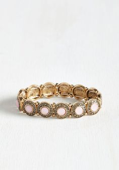 In Awe My Life Bracelet in Petal. This golden bracelet earns a lifetime worth of praise with its standout sparkle! #gold #wedding #modcloth