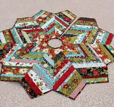 Christmas Tree Skirt Quilt  53 Inch Jovial by QuiltSewPieceful