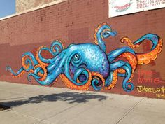 """Annie Preece on Twitter: """"Scrap can octopus mural Jenna Morello and I painted in…"""