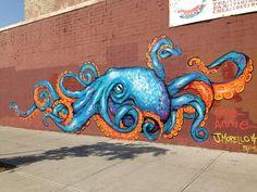 """Scrap can octopus mural Jenna Morello and I painted in Brooklyn today. Sea Murals, Ocean Mural, Ocean Art, Graffiti Art, Murals Street Art, Octopus Artwork, Octopus Painting, Mural Wall Art, Mural Painting"