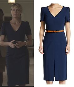 claire underwood house of cards hoc season 3 navy blue v neck dress chapter 28 robin wright Robin Wright, Office Fashion, Work Fashion, Claire Underwood Style, Formal, House Of Cards, House Dress, Casual Elegance, Work Attire