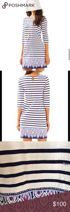 Lilly Pulitzer Beacon Dress NWT Size Small Lilly Pulitzer Bay Dress NWT Size Small Bright Navy Serene Stripe Engineered Dress Lilly Pulitzer Dresses