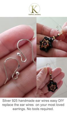 #Findings #Handmade #EarWires #EarHooks #DIY  Only AU$5.50 or Buy Bulk & Save available Handmade with Australian Refined Sterling Silver 925 Eurostyle Ear Hooks are made from 0.8 mm Sterling Wire, I have created a ball of approximately 2.3 mm in size and shape the hooks allowing a loop in the front for you to add your new earring creations or replacing one that you already have.  Hand filed them for comfort, hand polished and tumbled for shine.