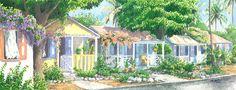 Companions by Anne Miller, x watercolour print Watercolor Print, Watercolours, Caribbean, Gazebo, Outdoor Structures, Architecture, Arquitetura, Kiosk, Pavilion