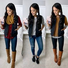 3 ways to wear a black puffy vest Winter Mode Outfits, Casual Fall Outfits, Winter Fashion Outfits, Look Fashion, Autumn Fashion, Cute Outfits, Outfit Winter, Fall Fashion Vest, Winter Teacher Outfits