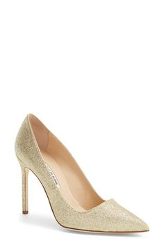 Manolo Blahnik 'BB' Pointy Toe Pump (Women) available at #Nordstrom in PURPLE METALLIC PATENT