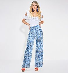 Pantalón palazo con doble cinta en preti Parachute Pants, Pajama Pants, Pajamas, Studio, Fashion, Vestidos, Bias Tape, Women, Pjs