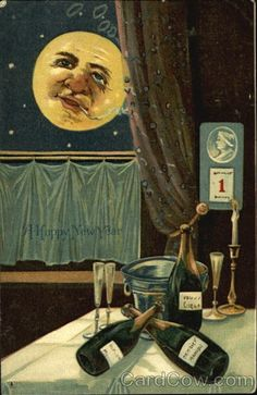If you've ever had an irrational fear that the Moon is watching your every move, then this is the card for you. | 17 Strange And Creepy Vintage New Years Cards