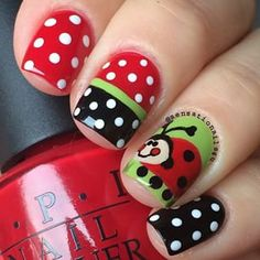 Ladybug Nails 🐞 Hand painted Ladybug with acrylic paint over two coats of Green with Envy and Black Onyx and the Thrill of Brazil. Nails For Kids, Girls Nails, Fancy Nails, Love Nails, Nail Art Designs, Ladybug Nails, Easter Nails, Instagram Nails, Yellow Nails